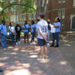 Cadets listen to the tour guide at Vanderbilt University.