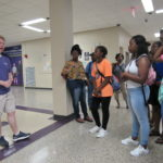 Cadets listen to the student tour guide at Tennessee Technological University.